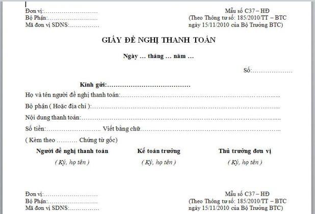 Mẫu giấy đề nghị thanh toán