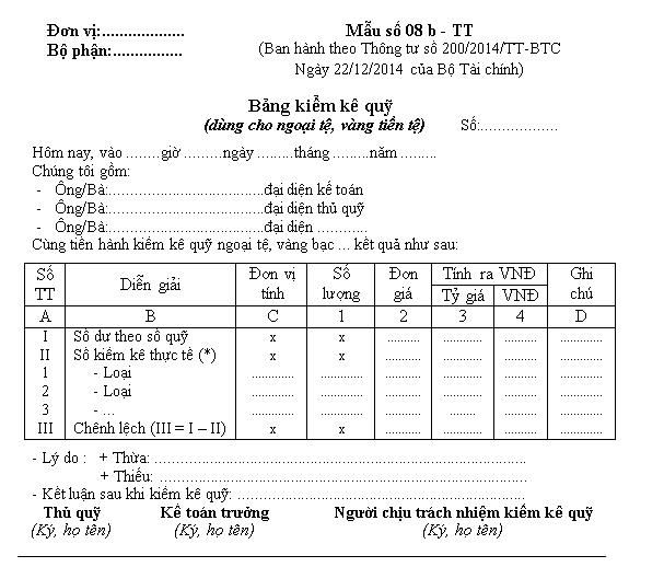Mẫu bảng kiểm kê quỹ dùng cho VNĐ và cho ngoại tệ Mẫu số: 08a – TT