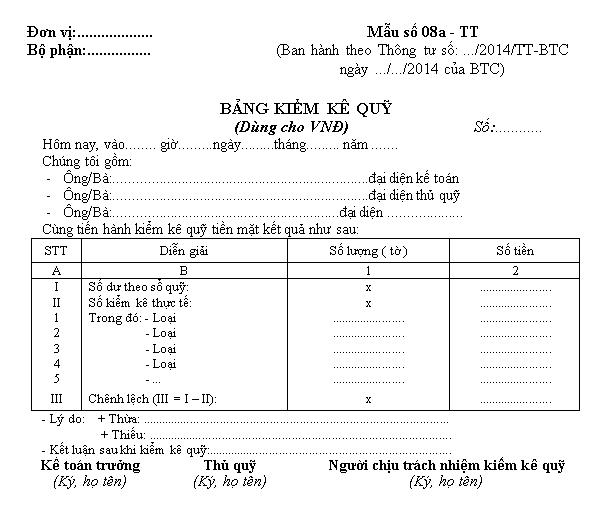 Mẫu bảng kiểm kê quỹ dùng cho VNĐ và cho ngoại tệ