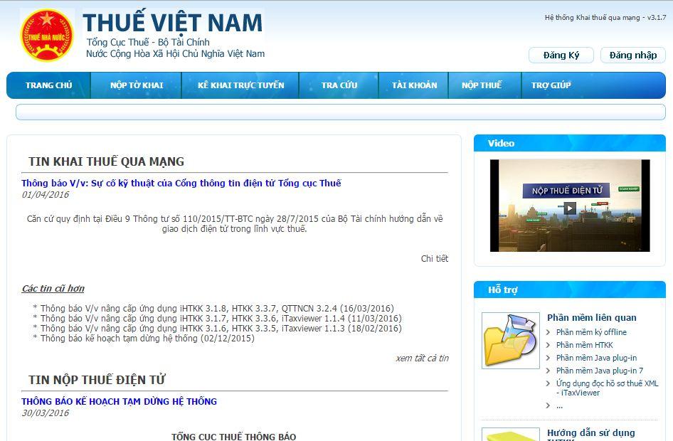 Giao diện trang web nhận tờ khai thuế qua mạng