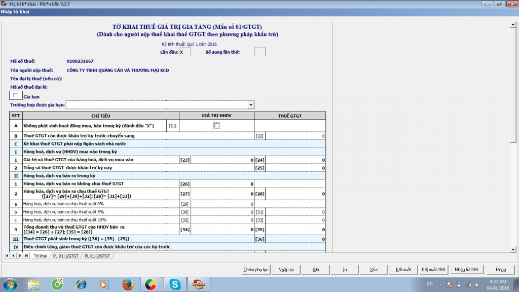 Giao diện các mục cần nhập trong việc lập tờ khai thuế GTGT qua mạng