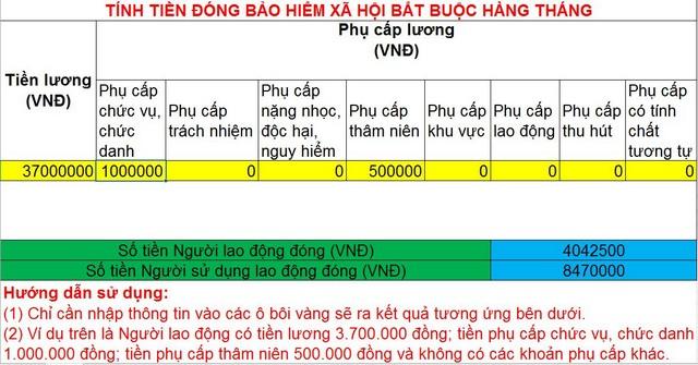 Giao diện của file excel tính tiền đóng BHXH bắt buộc hàng tháng