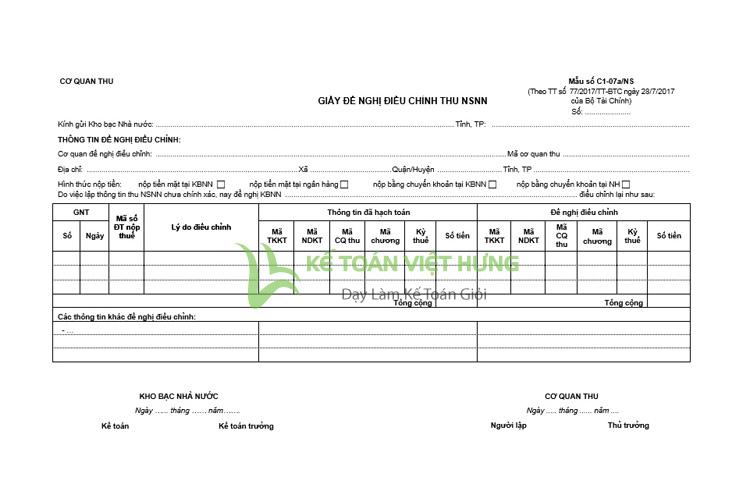 giấy điều chỉnh thu NSNN