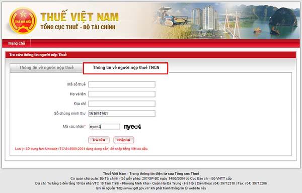 """Các bạn chọn mục """"Thông tin về người nộp thuế TNCN"""""""