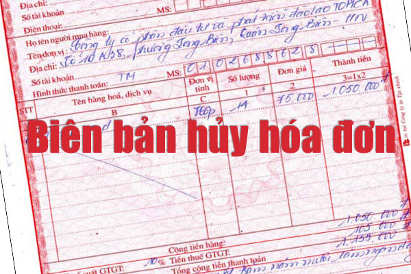 biên bản hủy hóa đơn theo thông tư 39 dùng để ghi nhận việc sai sót hóa đơn