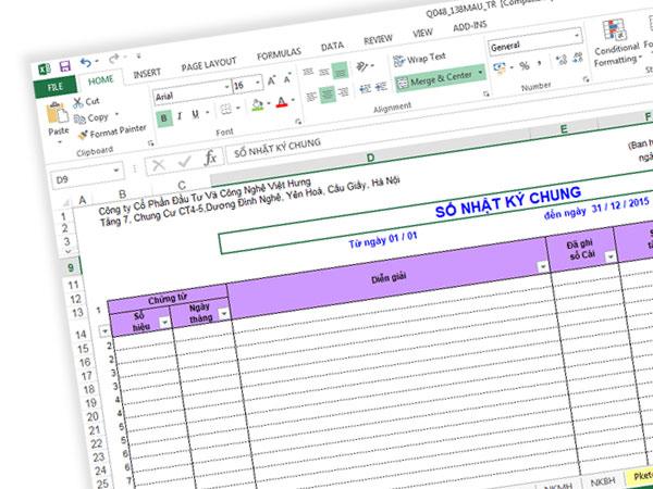 Hướng dẫn cách ghi sổ nhật ký chung trên Excel
