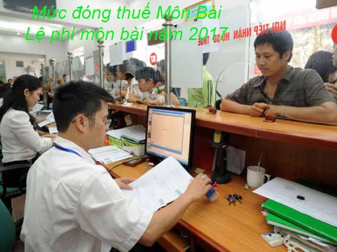 Mức đóng thuế Môn Bài, Lệ phí môn bài năm 2017