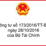 Thông tư số 173/2016/TT-BTC ngày 28/10/2016 của Bộ Tài Chính
