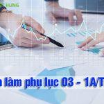 Hướng dẫn cách làm phụ lục 03 - 1A/TNDN Excel mới nhất năm 2020